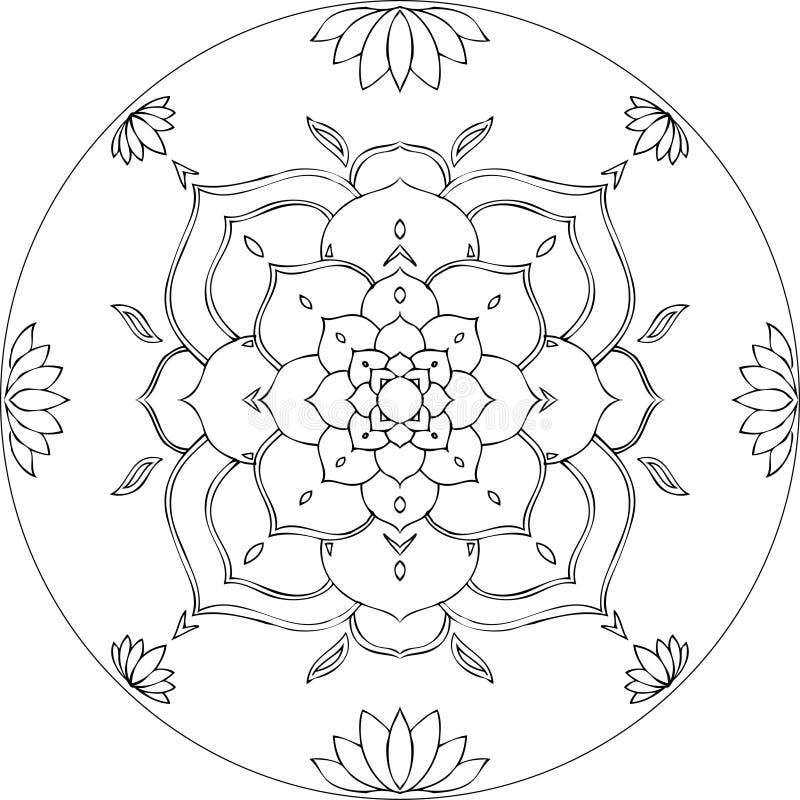 Coloring Lotus Mandala Diksha stock illustration
