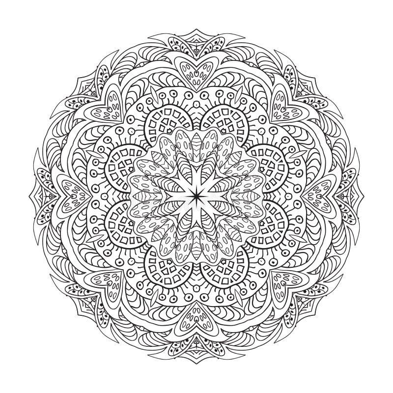 Coloring. Mandala Eastern pattern. Zentangl round ornament stock illustration