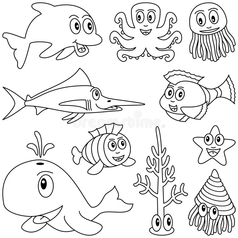 Coloring Marine Animals [1]. Collection of ten funny cartoon marine animals (dolphin, octopus, jellyfish, swordfish or marlin, whale, mollusc or shellfish royalty free illustration