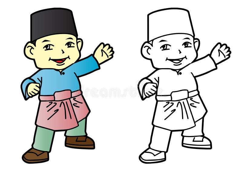 Coloring Melayu Muslim Boy - Vector Illustration vector illustration