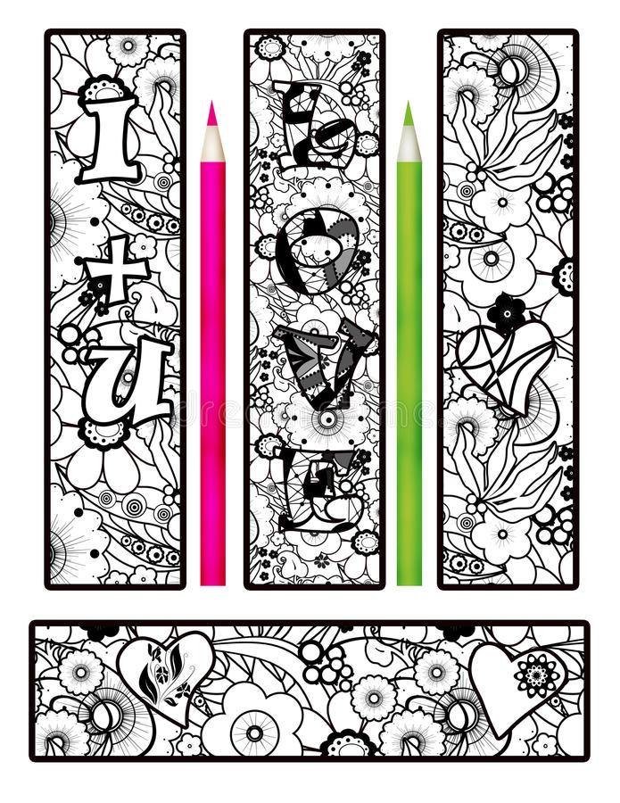 Coloring page abstract elements bookmarks stock illustration