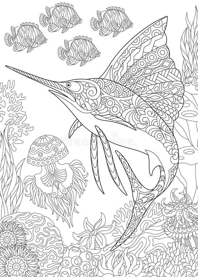 Zentangle underwater background vector illustration