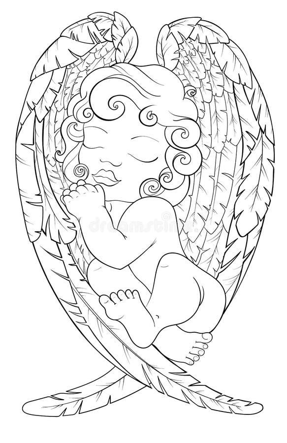 angel black white stock illustrations