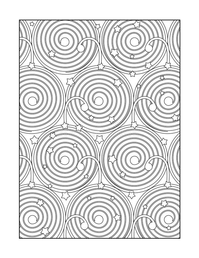 Coloring page for adults, or black and white ornamental background. Coloring page for adults (children ok, too) with whimsical abstract pattern, or monochrome vector illustration