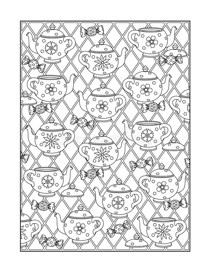 Coloring page for adults, or black and white ornamental background. Coloring page for adults (children ok, too) with whimsical dishware pattern, or monochrome vector illustration