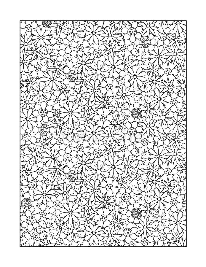 Coloring page for adults, or black and white ornamental background. Coloring page for adults (children ok, too) with whimsical floral pattern, or monochrome vector illustration