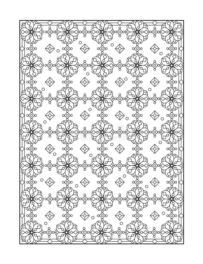 Coloring page for adults, or black and white ornamental background. Coloring page for adults (children ok, too) with whimsical pattern, or monochrome decorative stock illustration