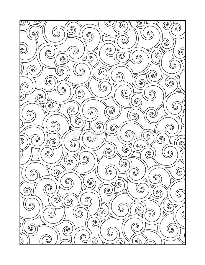 Coloring page for adults, or black and white ornamental background. Coloring page for adults (children ok, too) with whimsical swirls pattern, or monochrome royalty free illustration