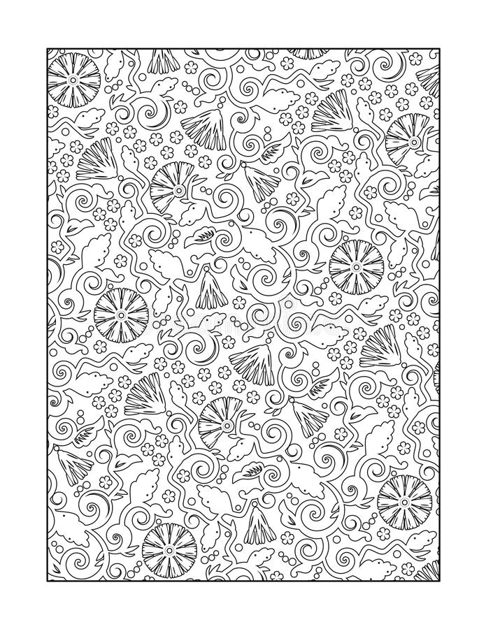 Coloring page for adults, or black and white ornamental background. Coloring page for adults (children ok, too) with whimsical swirly floral pattern, or vector illustration