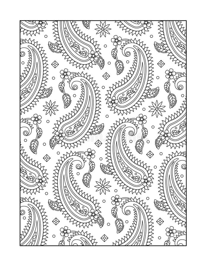 Coloring page for adults, or black and white ornamental background. Paisley pattern coloring page for adults (children ok, too), or monochrome decorative royalty free illustration