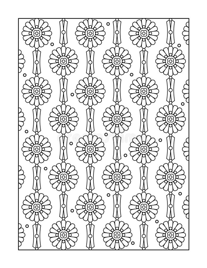Coloring page for adults, or black and white ornamental background. Pattern coloring page for adults (children ok, too), or monochrome decorative background stock illustration