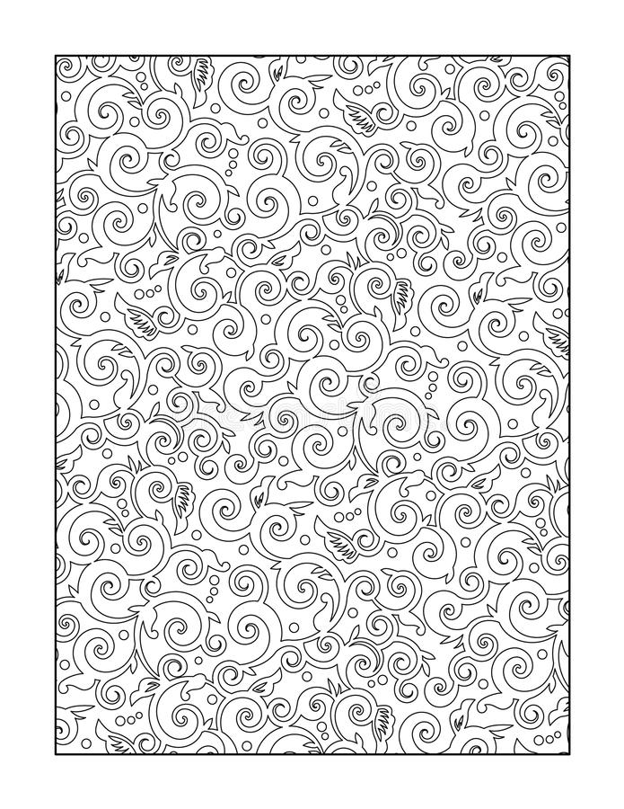 Coloring page for adults, or black and white ornamental background. Pattern coloring page for adults (children ok, too), or monochrome decorative background vector illustration