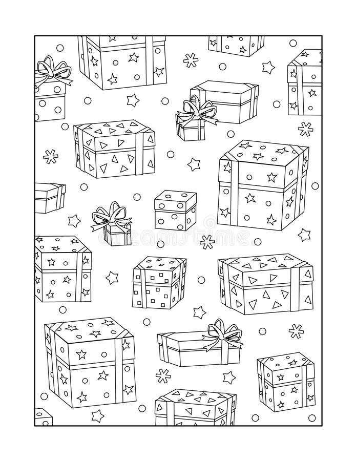 Coloring page for adults, or black and white ornamental background. Pattern coloring page for adults (children ok, too) with scattered gift boxes and snowflakes vector illustration