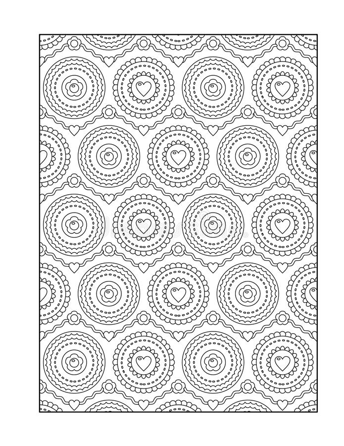 Coloring page for adults, or black and white ornamental background. Pattern coloring page for adults (children ok, too) with valentine hearts, or monochrome royalty free illustration