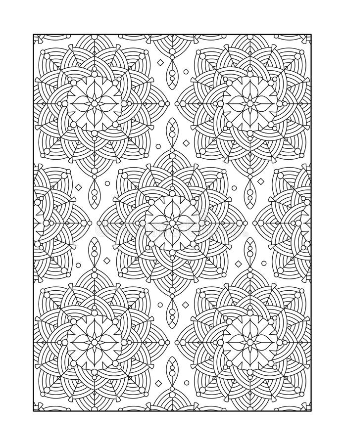 Coloring page for adults, or black and white ornamental background. Pattern coloring page for adults (children ok, too) with whimsical rosettes, or monochrome vector illustration