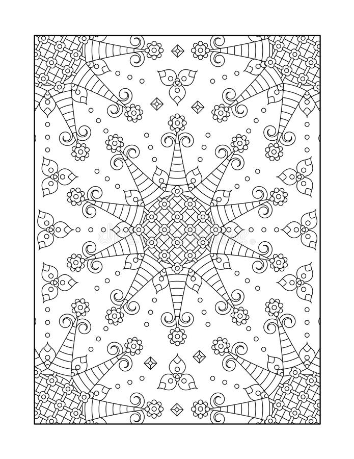 Coloring page for adults, or black and white ornamental background. Pattern coloring page for adults (children ok, too) with whimsical rosettes, or monochrome royalty free illustration