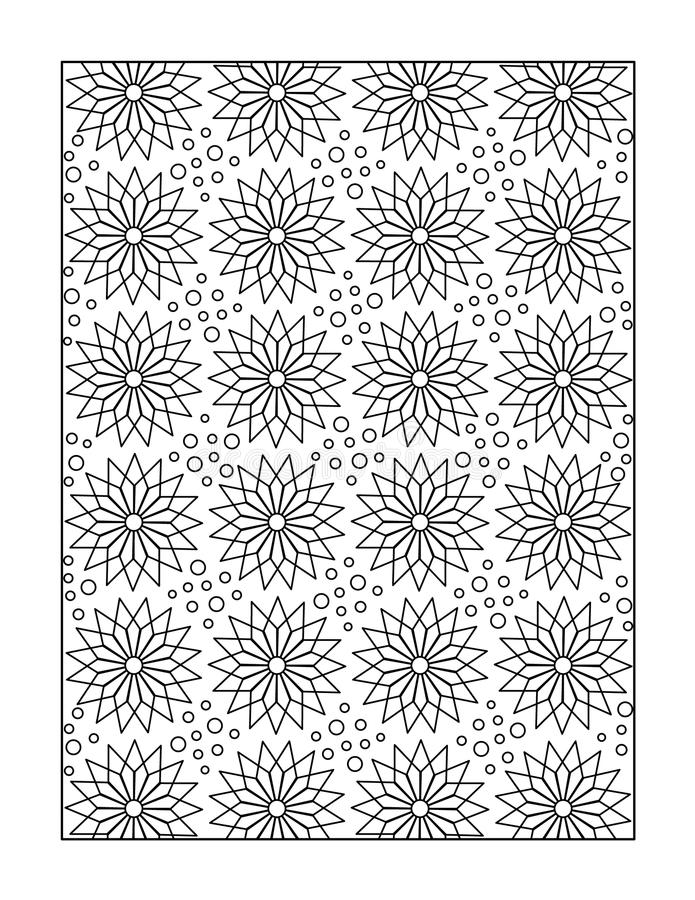 Coloring page for adults, or black and white ornamental background. Pattern coloring page for adults (children ok, too) with whimsical stars, or monochrome stock illustration