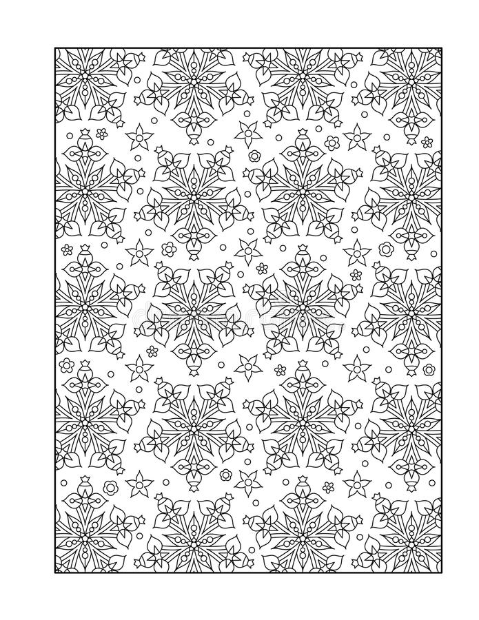 Coloring page for adults, or black and white ornamental background. Pattern coloring page for adults (children ok, too) with whimsical stars, or monochrome vector illustration