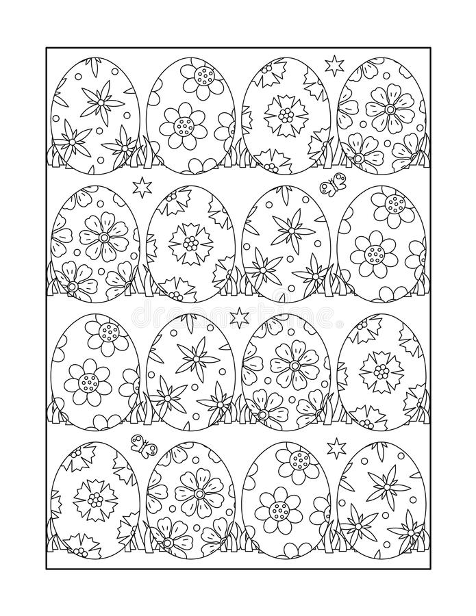 Coloring page for adults and children, or black and white Easter ornamental background. Easter themed coloring page for adults and children with painted eggs, or vector illustration
