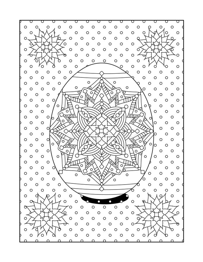 Download Coloring Page For Adults With Painted Easter Egg Stock Vector