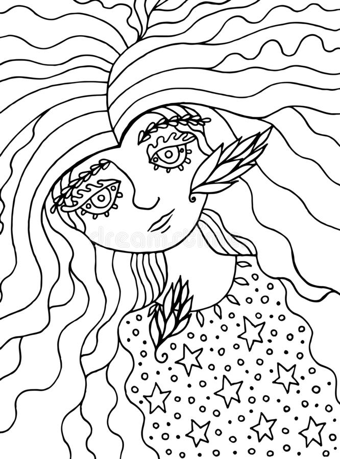 Coloring page for adults with cute fairy tale witch girl.Ink line doodle cartoon artwork. Vector illustration.  vector illustration
