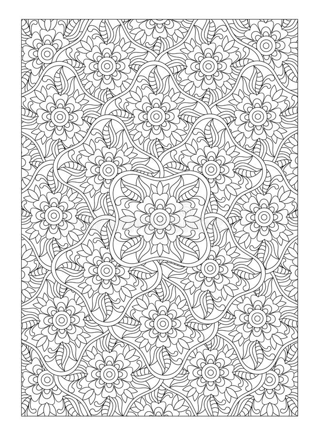 Doodle graphic leaves and flowers, coloring page for adults, art therapy, antistress, zentangle abstract patterns. Coloring page for adults, doodle graphic royalty free illustration