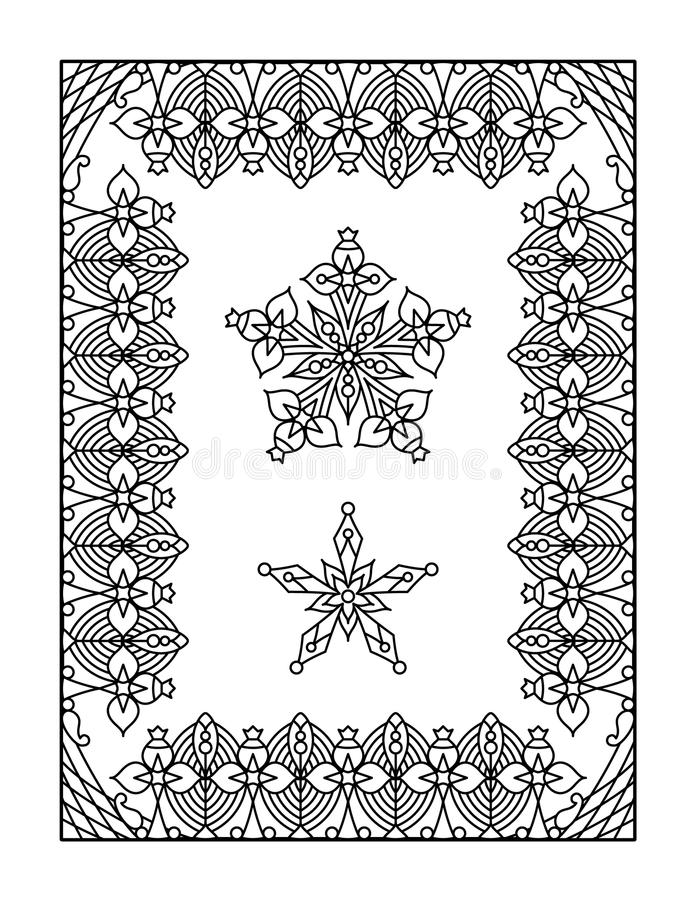 Coloring page for adults. Framed mandala coloring page for adults (children ok, too vector illustration