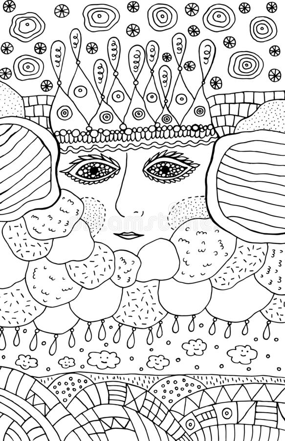 Coloring page for adults and kids - fairy tale sun and clouds. Doodle fantasy landscape. Vector illustration.  vector illustration