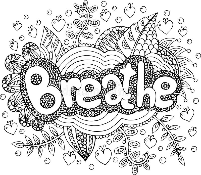 Coloring Page For Adults With Mandala And Breathe Word ...