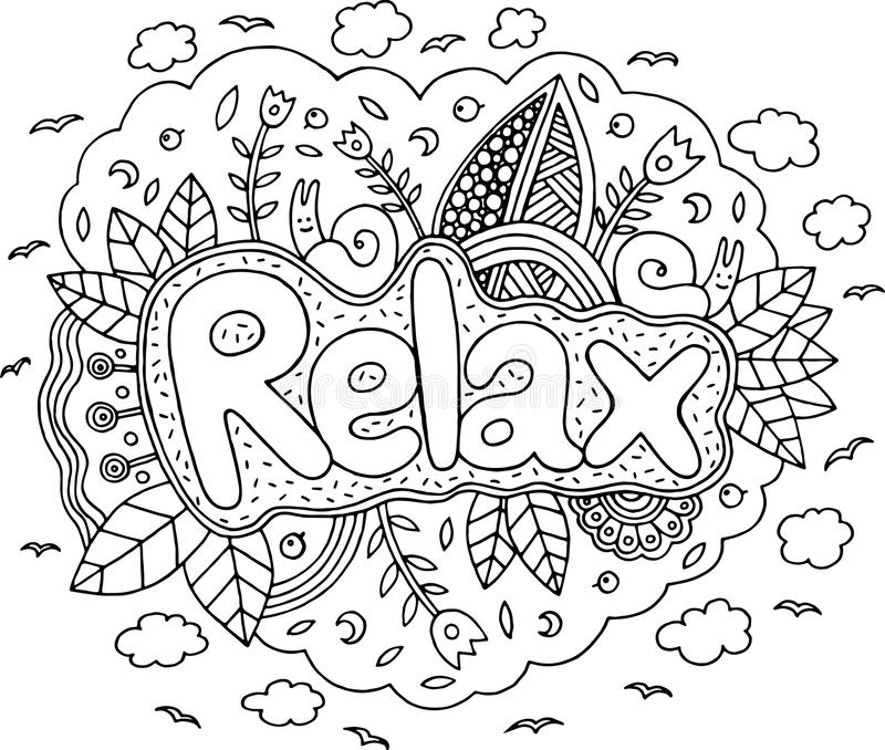 coloring page adults mandala relax word doodle lettering ink outline artwork vector illustration coloring page