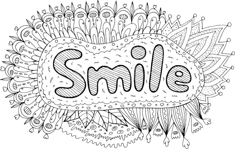 Coloring page for adults with mandala and Smile word. Motivational quote. Doodle lettering ink outline artwork. Vector. Illustration royalty free illustration