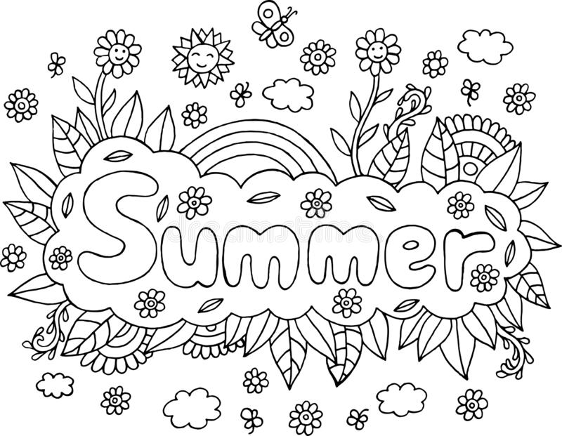 Coloring Page For Adults With Mandala And Summer Word. Doodle Le