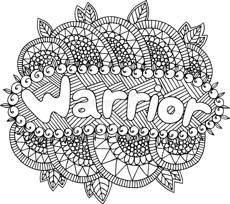 Coloring Page For Adults With Mandala And Warrior Word