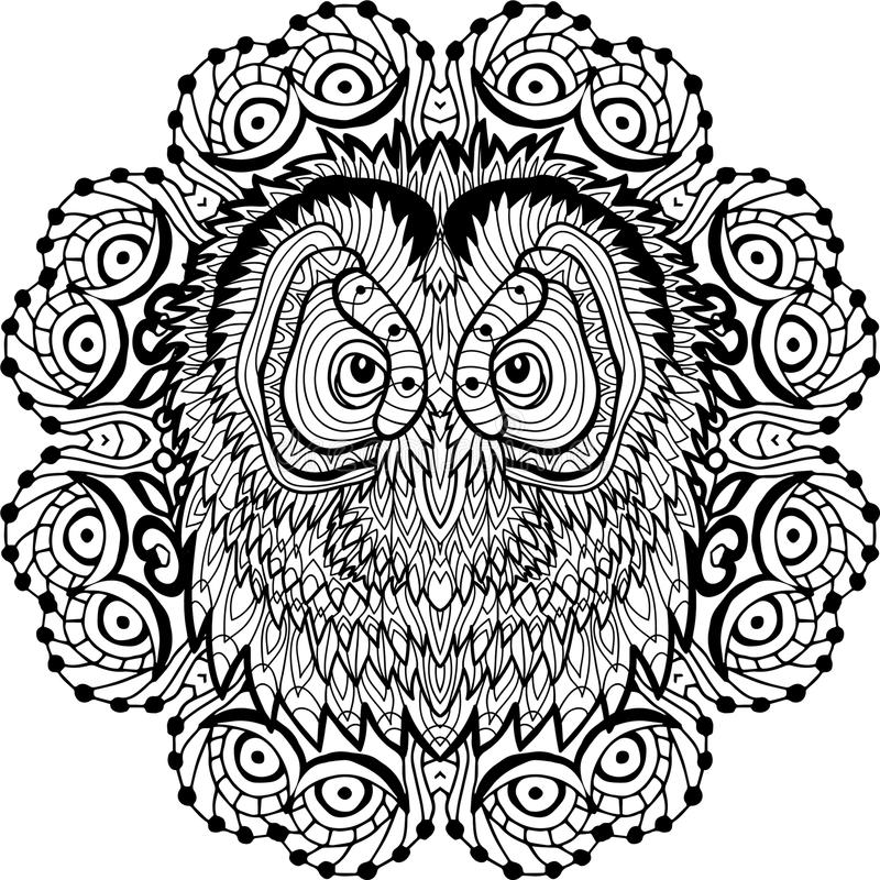 Coloring Page For Adults Owls Head In The Round Pattern Line Art
