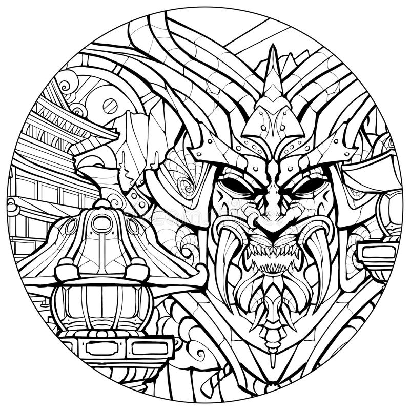 Coloring page for adults sinister samurai mask. Coloring page for adults, sinister samurai mask stock illustration