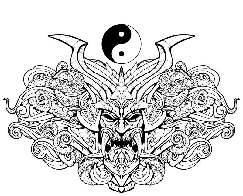 Coloring page for adults, sinister samurai mask. And sea monster stock illustration