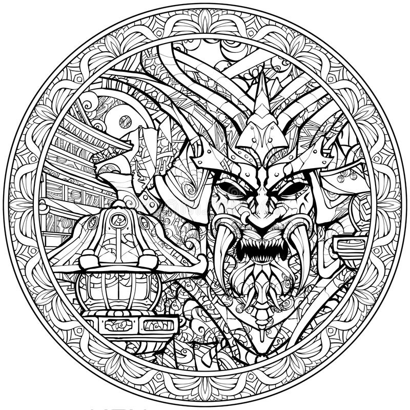 Sinister samurai mask with fangs. Coloring page for adults, sinister samurai mask line art royalty free illustration