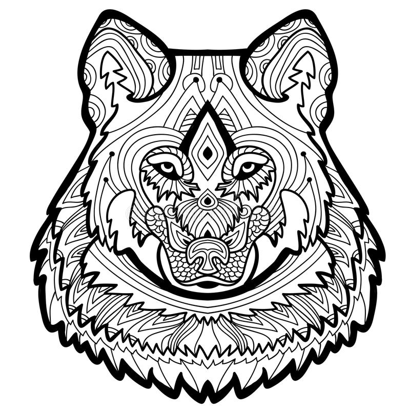 Coloring page for adults. Strong wolf is drawn by hand with ink stock illustration