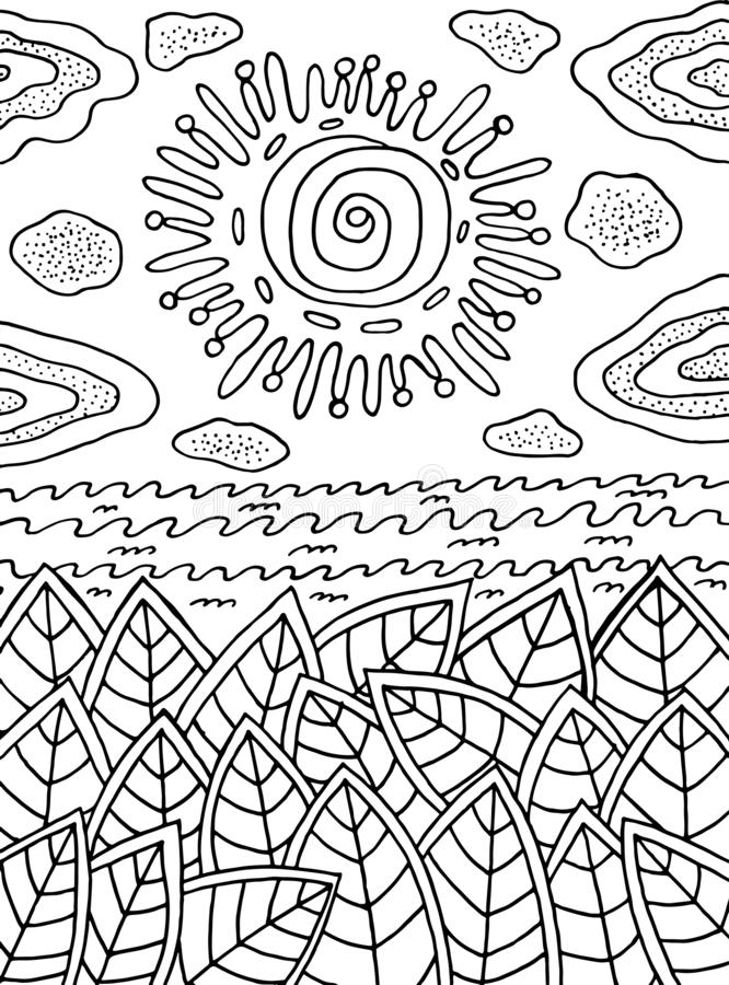 Coloring page for adults - summer landscape with sun and leaves and sea. Ink line doodle artwork. Vector illustration.  royalty free illustration