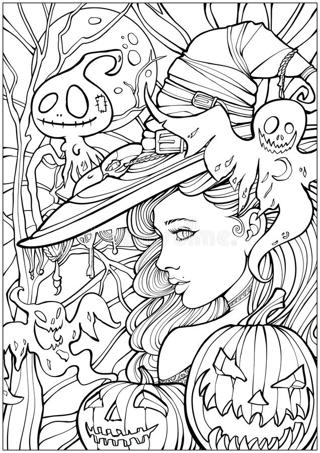 Witch surrounded by friendly ghosts. Coloring page for adults, witch surrounded by ghosts vector illustration