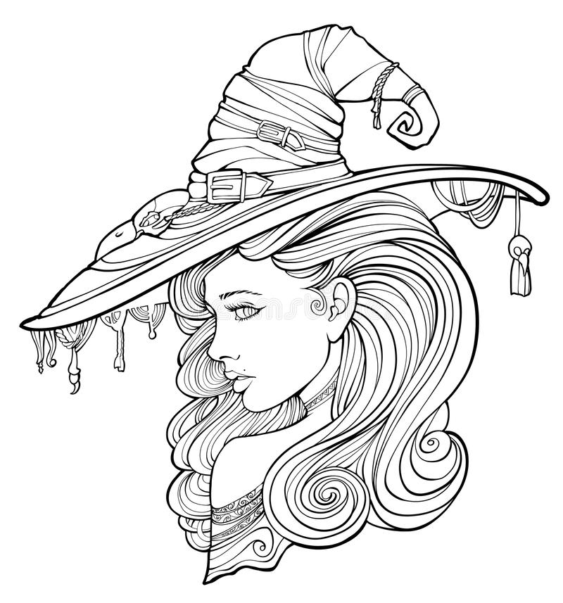 Witch surrounded by friendly. Coloring page for adults, witch surrounded by ghosts royalty free illustration