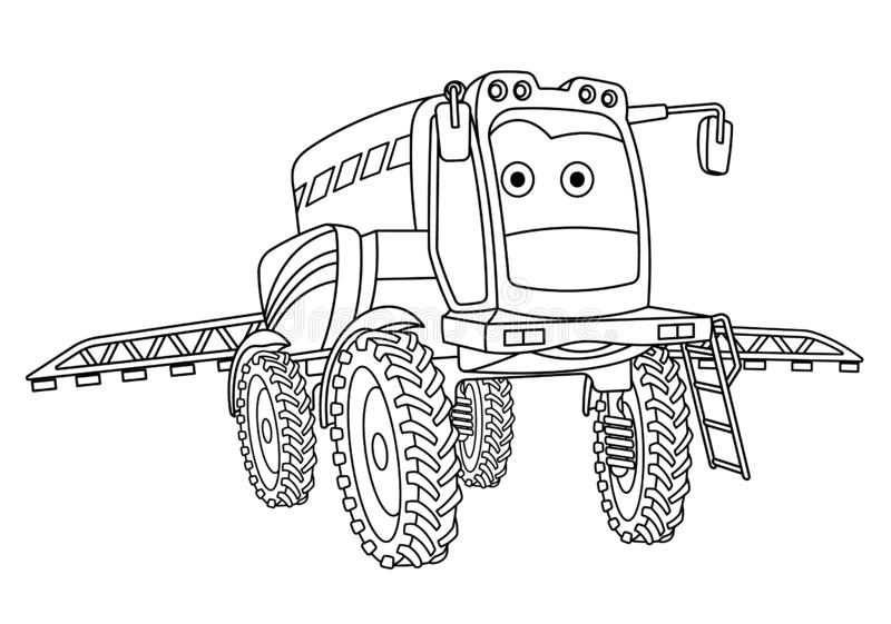 Coloring page with agricultural sprayer tractor. Coloring page. Colouring picture. Cute cartoon agricultural sprayer. Crop spraying tractor. Childish design for stock illustration