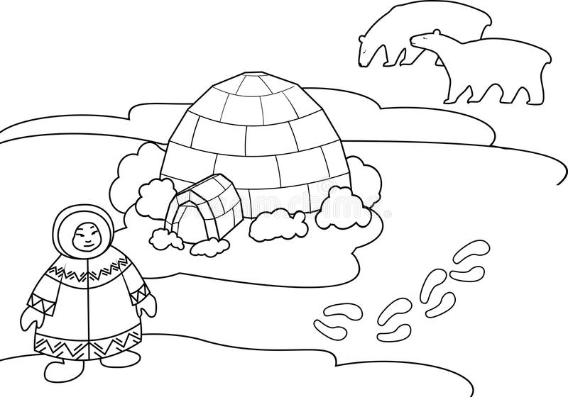 Coloring page. Arctic landscape with Eskimo in national clothes, igloo and stylized polar bear royalty free illustration
