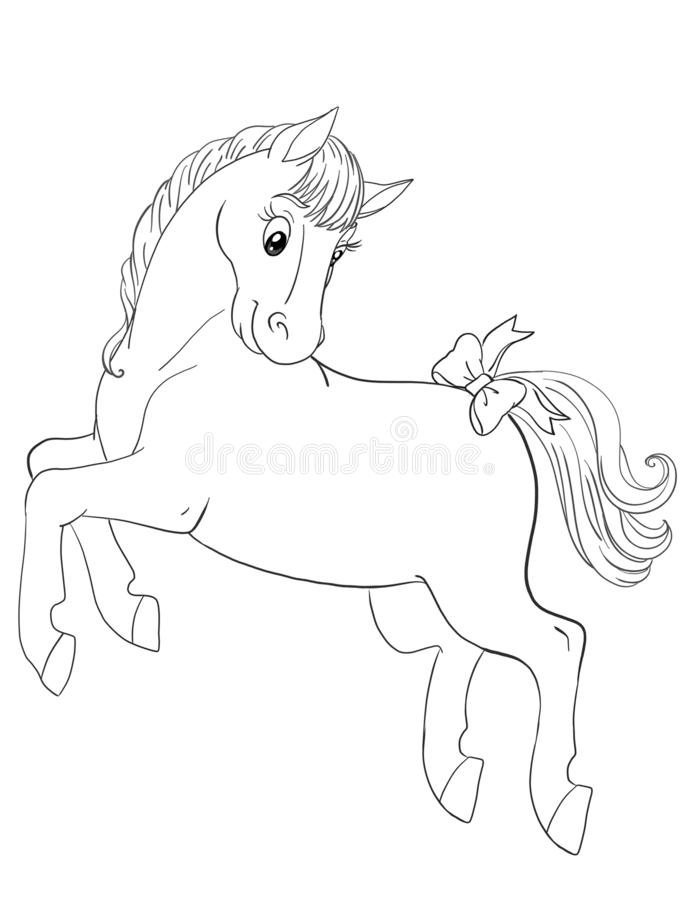 Graphic art for a coloring book with beautiful horse jumping stock images