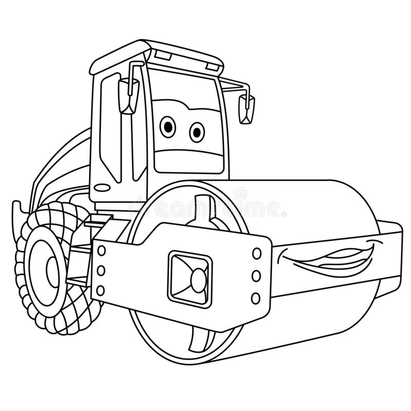 Coloring page with asphalt paver machine royalty free illustration