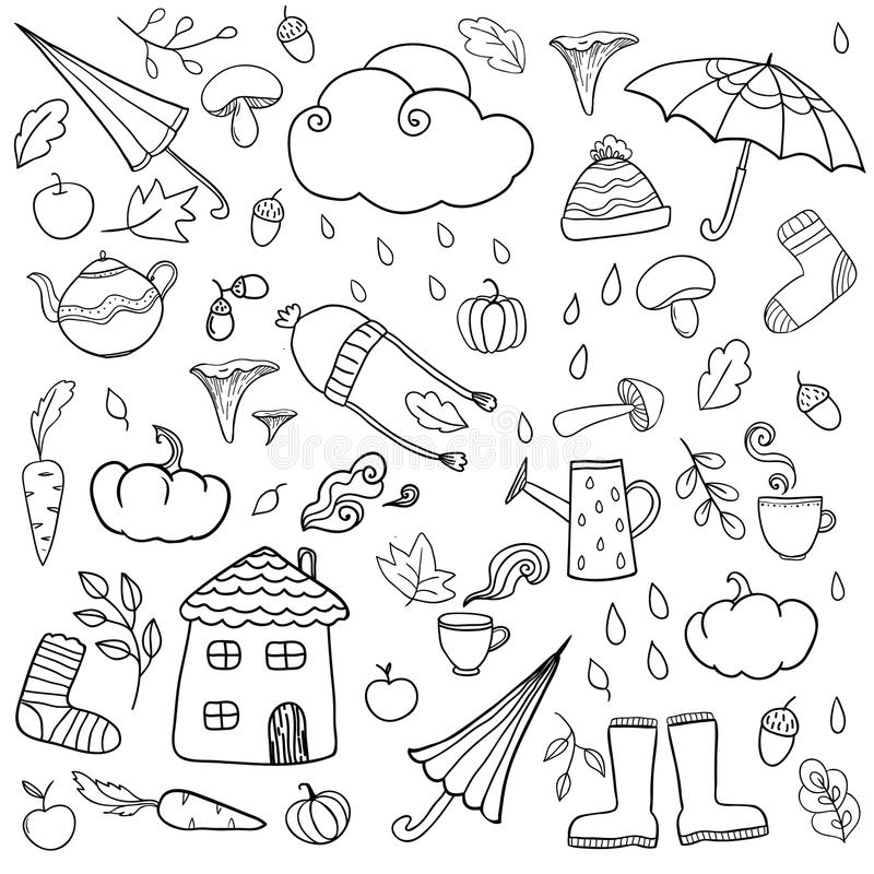 Coloring page with autumn icons. royalty free illustration