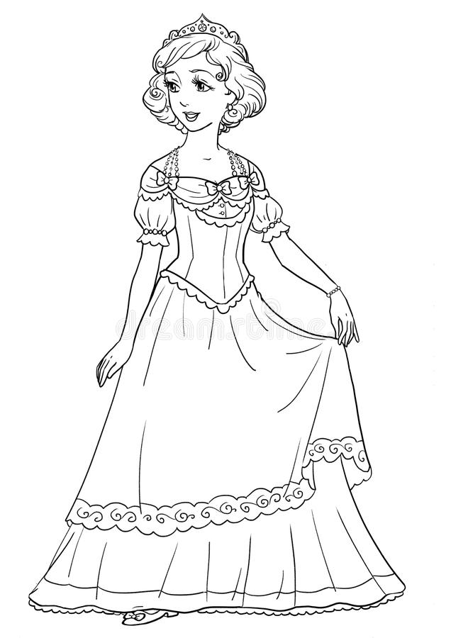 Coloring Page With Beautiful Princess In Pretty Dress ...