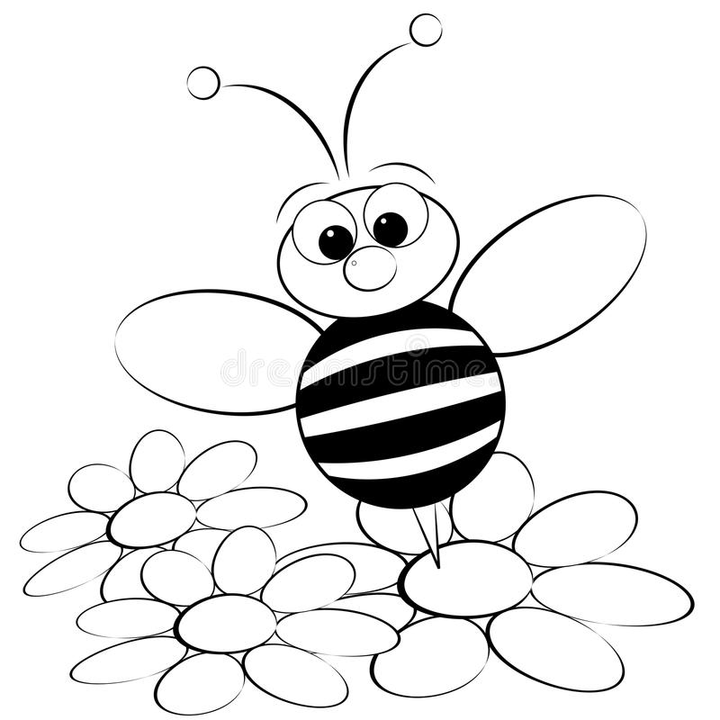 Coloring page - Bee and daisy stock illustration