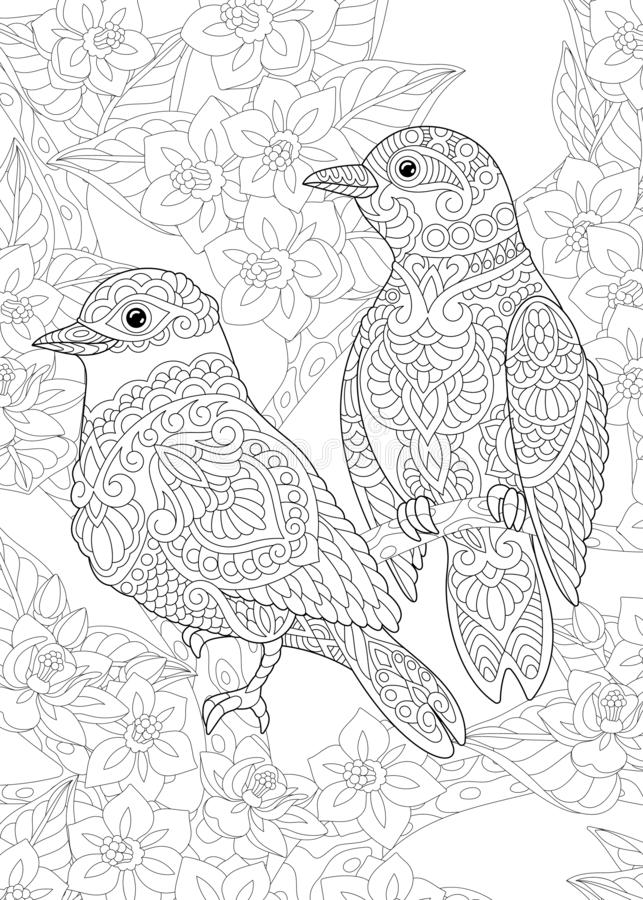 Coloring Page With Bird In The Garden Stock Vector Illustration Of Background Bloom 164162584