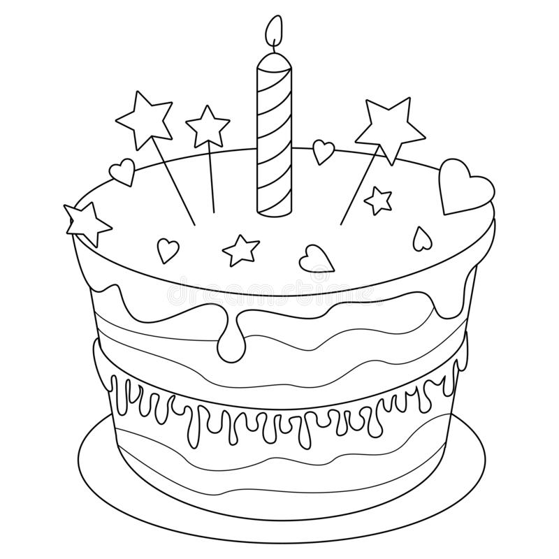 Brilliant Birthday Cake Colouring Stock Illustrations 260 Birthday Cake Personalised Birthday Cards Beptaeletsinfo